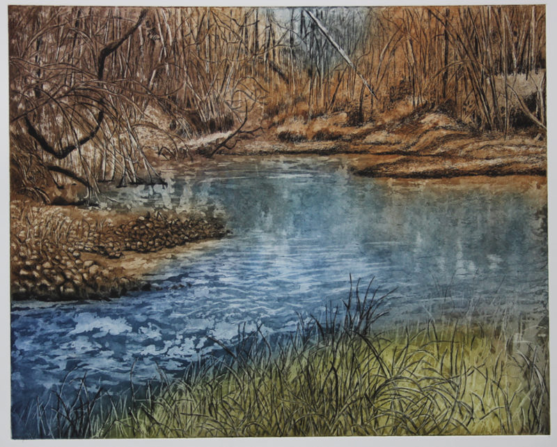 Red River South View hand pulled print by Lee Ann Frame
