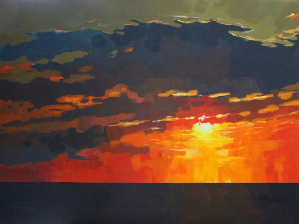 landscape sunset painting by mark mehaffey