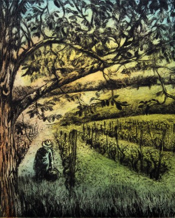 original hand pulled print of a ma in an olive orchard
