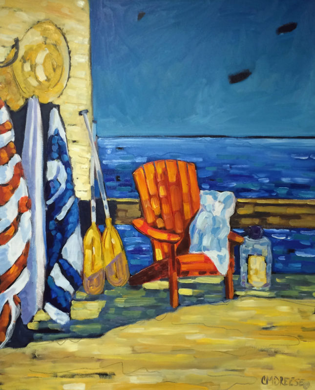 print of original oil painting of a beach chair, umbrella and water