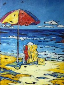 Beach days oil painting by Christi Dreese