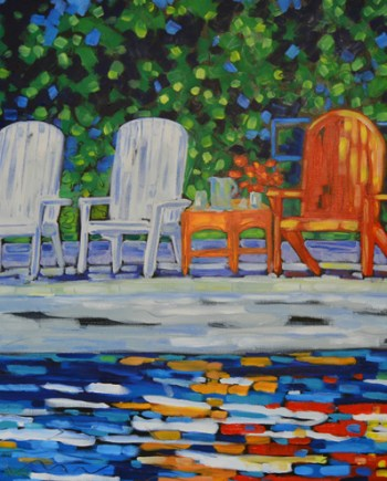 reproduction of original On Lake Time painting by Christi Dreese