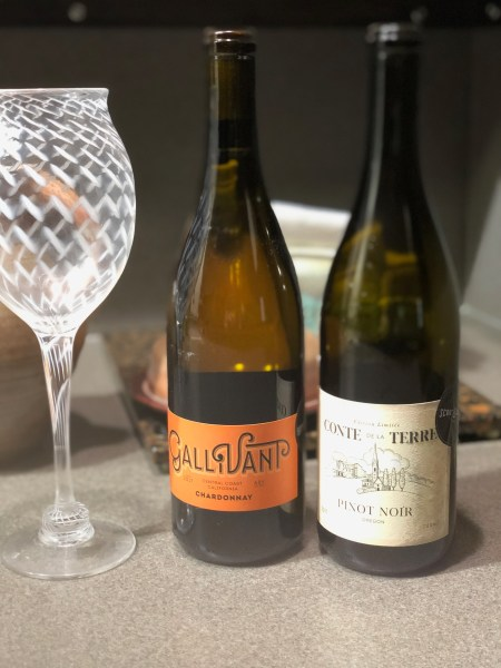 handblown wine glass and scout and cellar wine