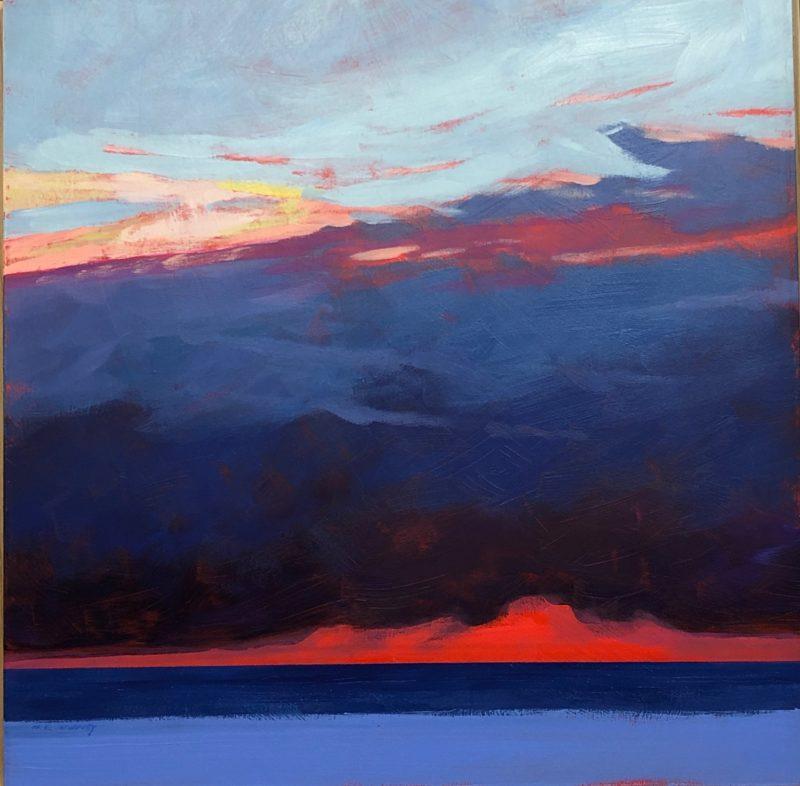 original acrylic painting of a lake michigan sunset