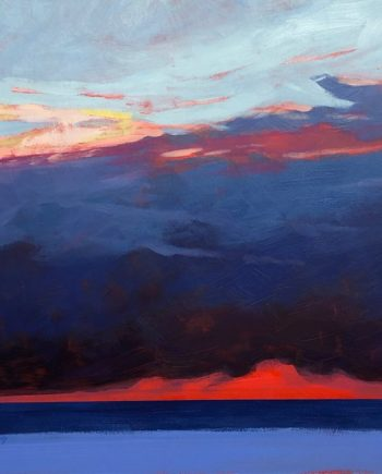 original acrylic painting of a lake michigan sunset