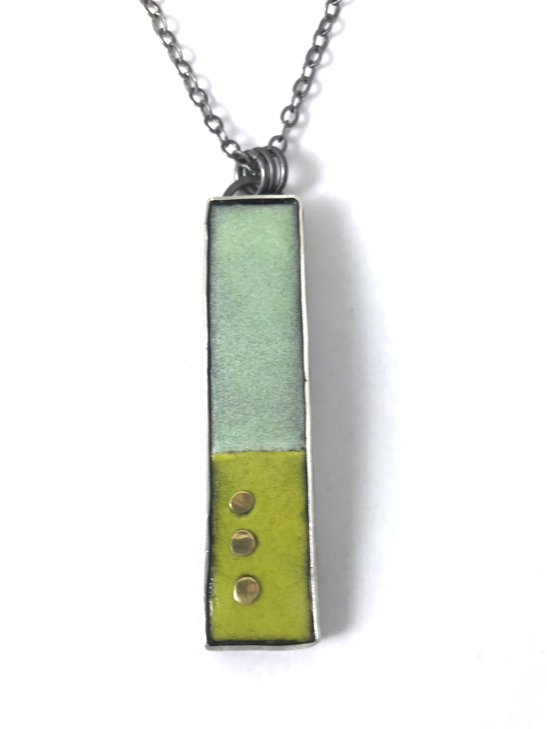 aqua lime pendant with 22k gold