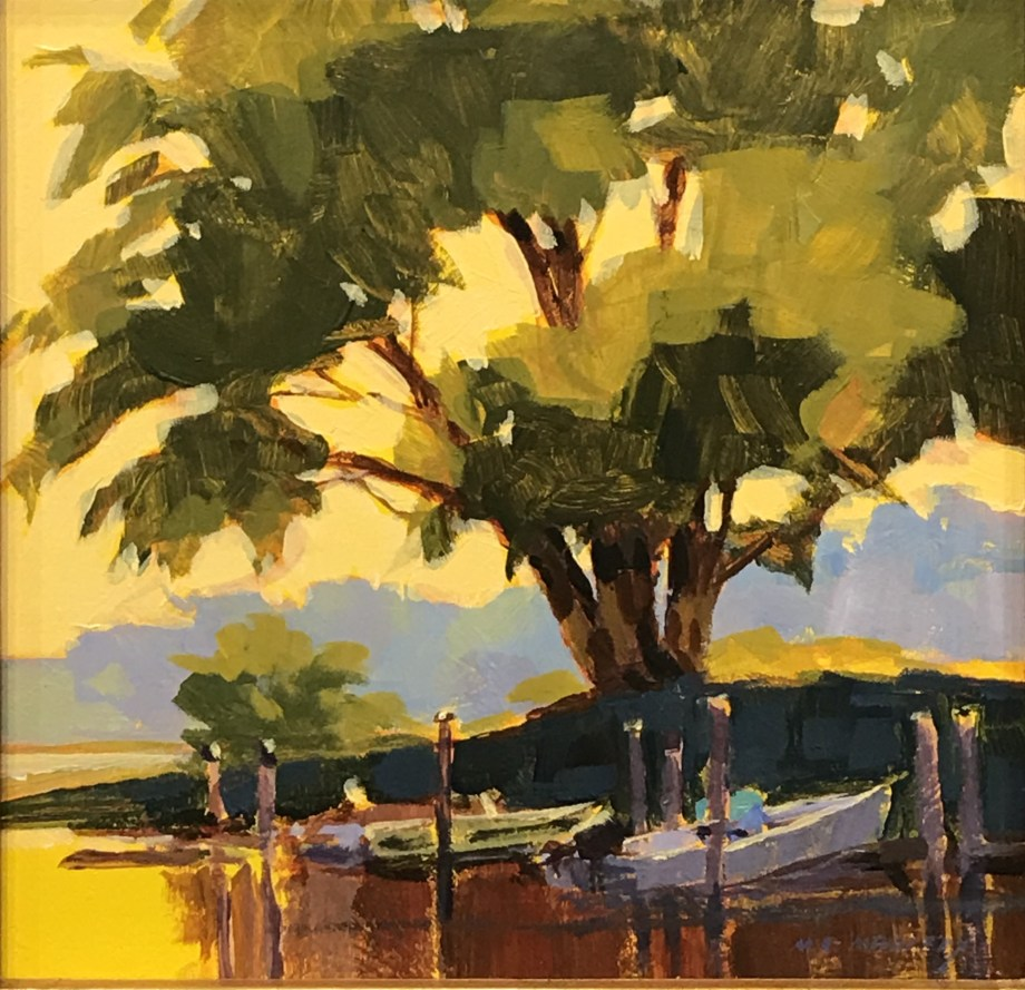 original acrylic painting of an oak tree on water and boats under it
