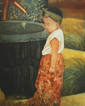 hand pulled print of a little girl by a wishing well