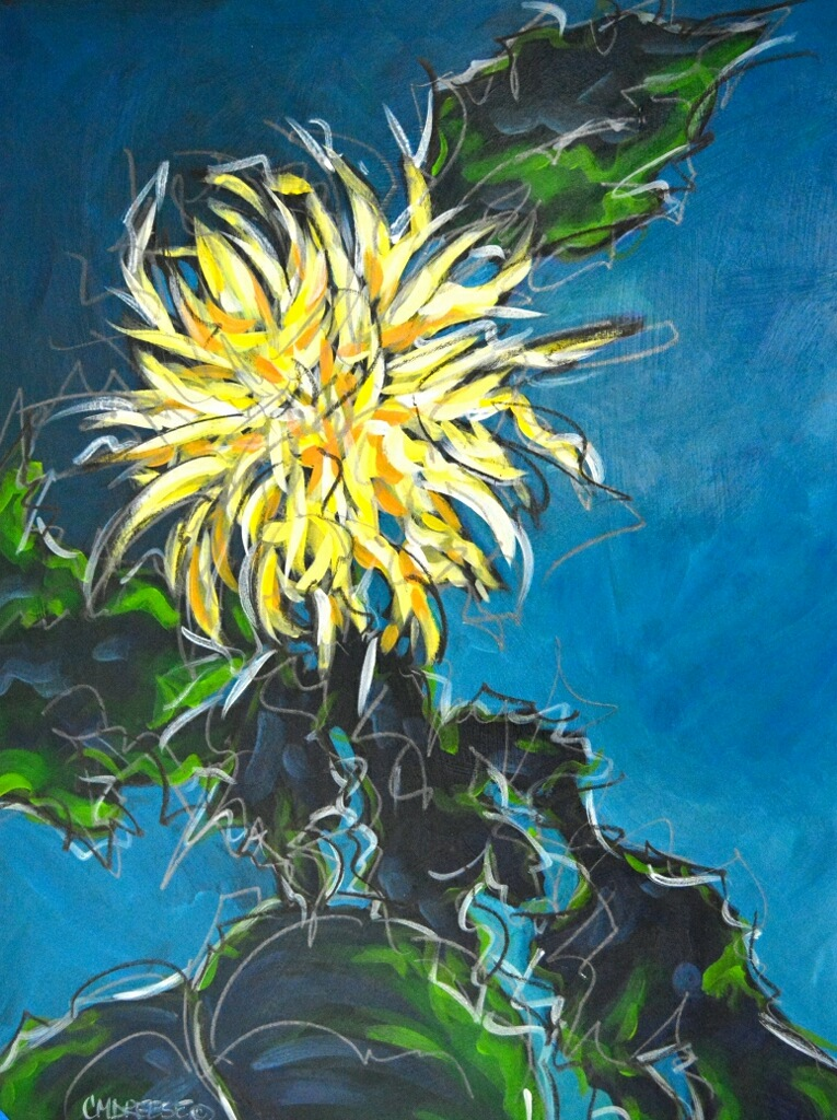 original acrylic painting of a wild flower