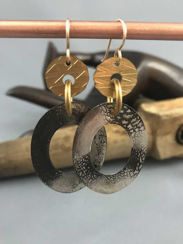 Gold Oval Hoops - Front