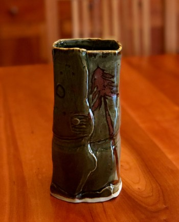 handmade ceramic vase that is softly squared