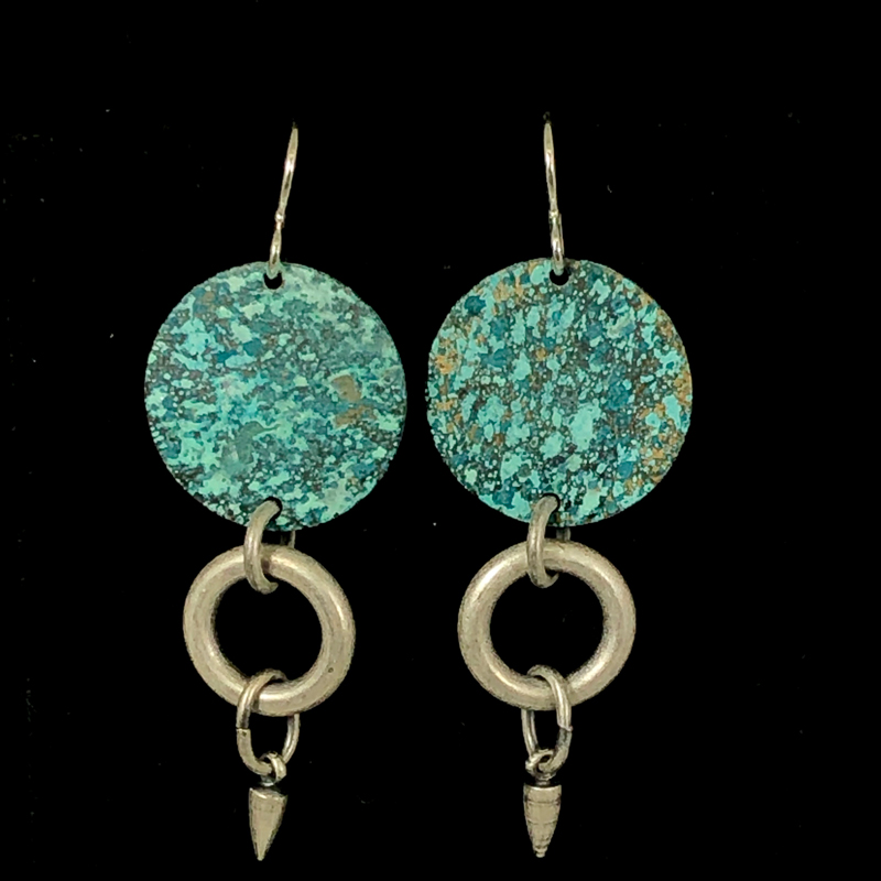 Turquoise & Silver Charm Disc Earrings