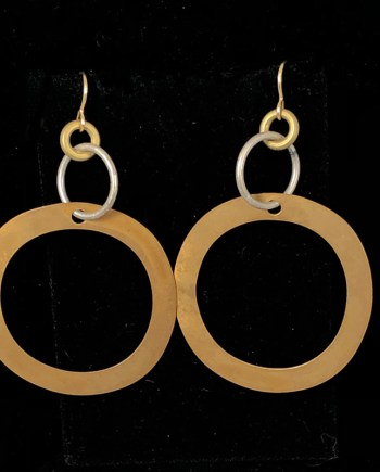 Mixed Metal Flat Hoop Earrings