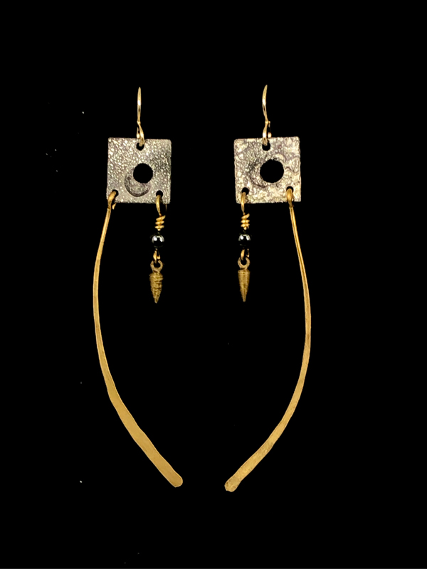 Silver Gold Long Square Earrinngs