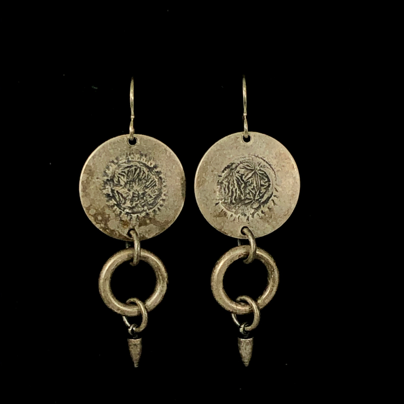 Charm Disc Earrings Silver and Silver