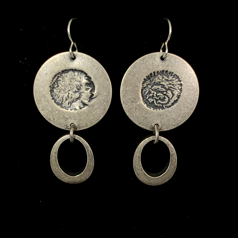 Small Silver Oval Drop Earrings