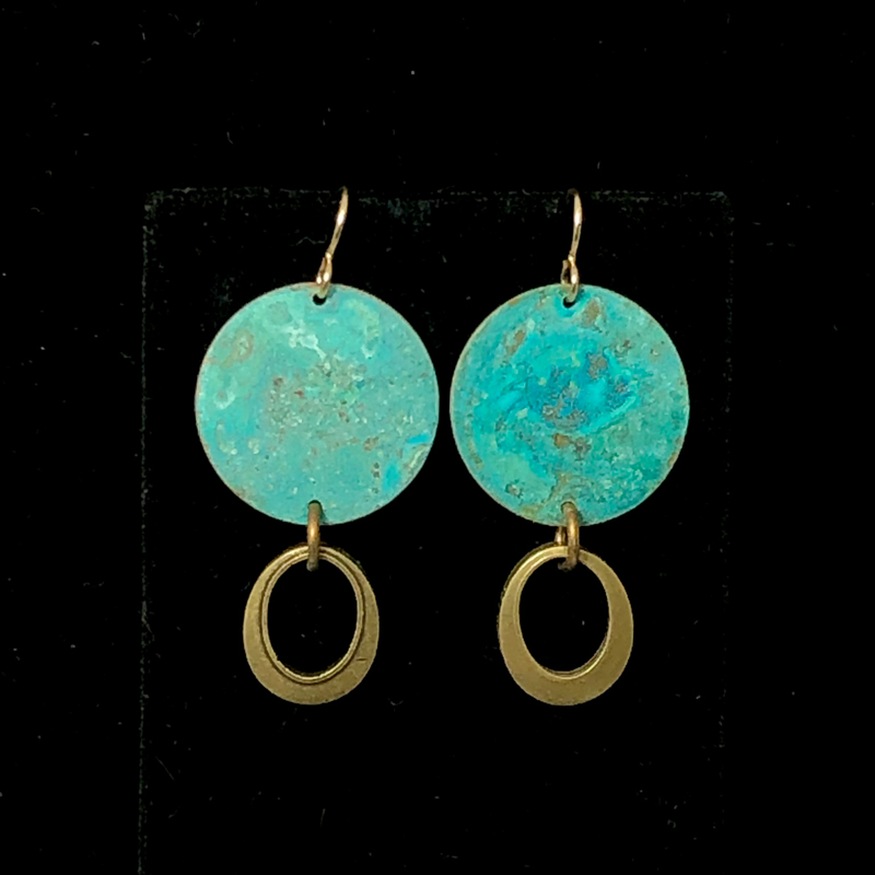 Teal Gold Oval Drop Earrings by Lochlin Smith