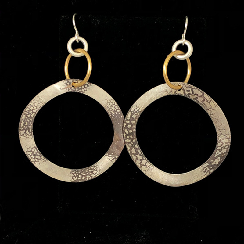 Mixed Metal Flat Hoop Earrings by Lochlin Smith
