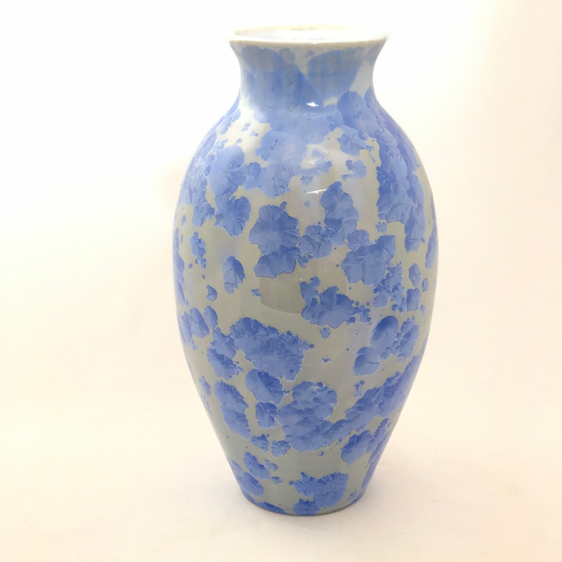 Light Cobalt Crystalline Vase