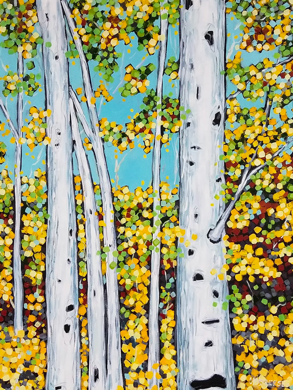 original oil painting of birch trees an fall leaves