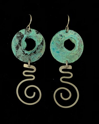 Aqua Silver Cutout Disc Dangle Earrings
