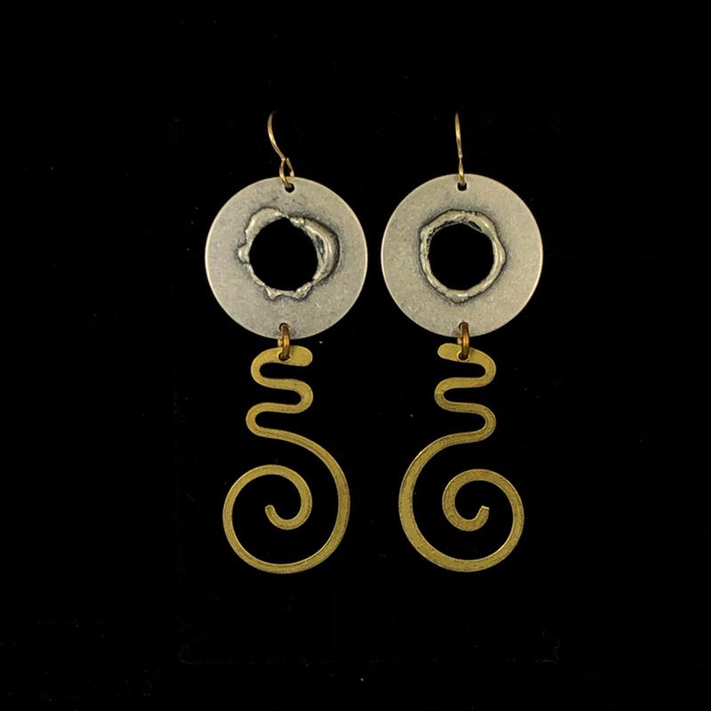 Silver & Gold Cutout Disc Dangle Earrings