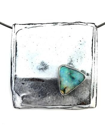 handmade enameled steel pendant with an Australian boulder opal