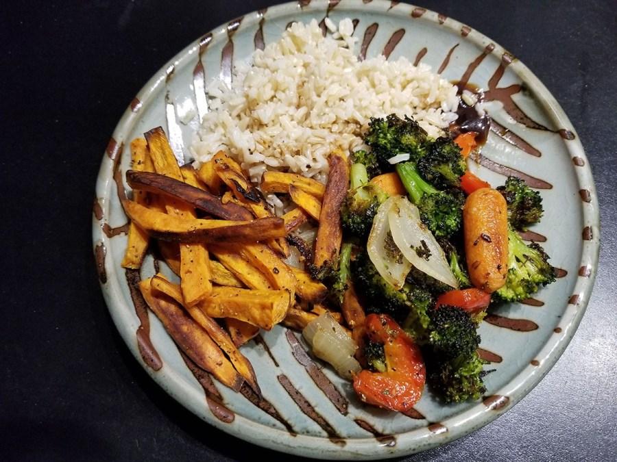 Dinner on a handmade plate