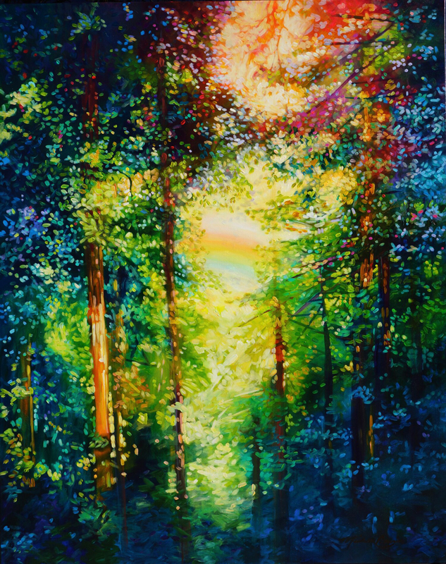 painting of wooded scene with light shining through