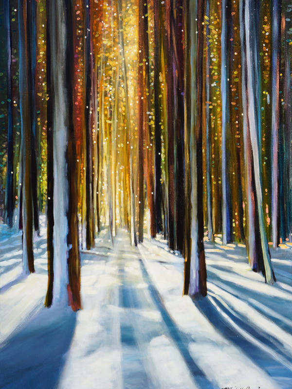 painting of woods with snow on the ground and light coming through the trees