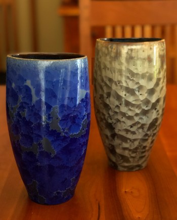 crystalline vases green blue