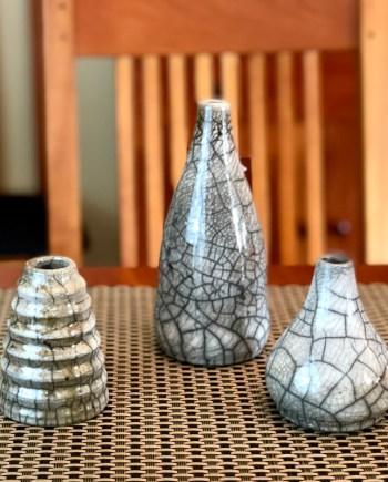 handmade raku pottery vases