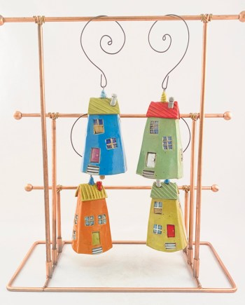 4 bell ornaments that look like houses