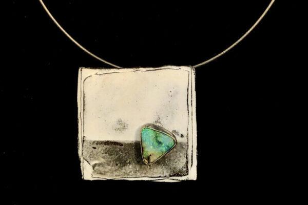 australian opal enamel handmade pendant