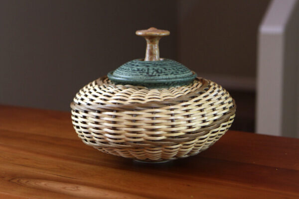 Stephen Kostyshyn ceramic basket jar in green