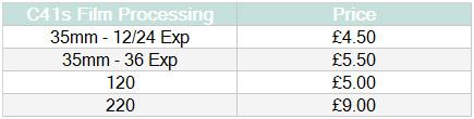 C41 Film Processing Film Processing Prices
