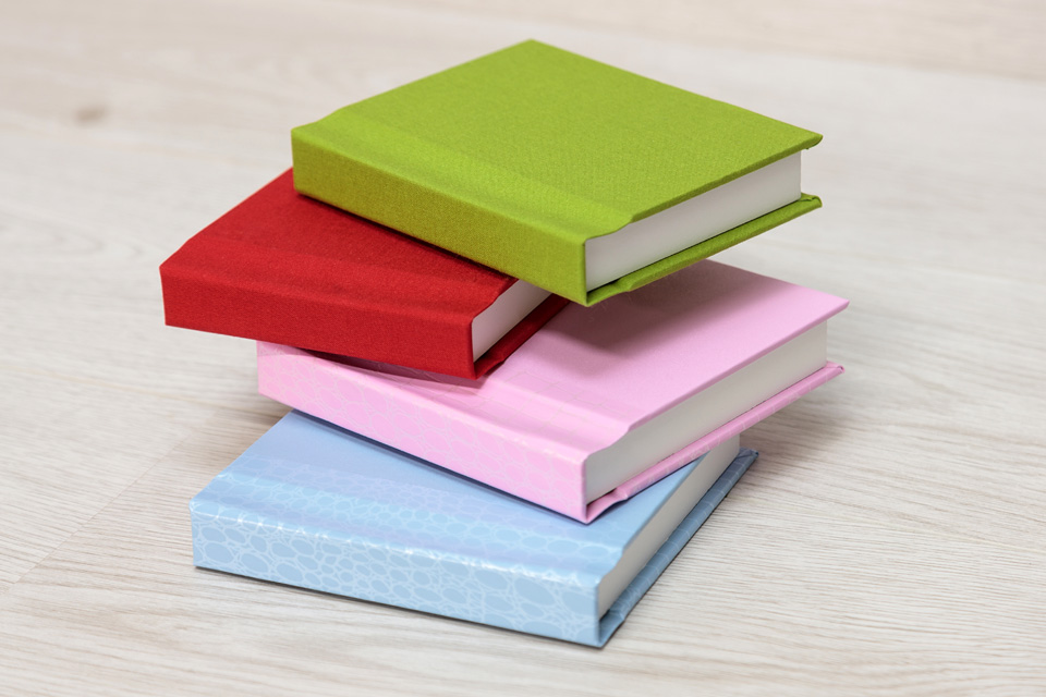 Cover Samples - Lime Green Fabric (31), Cherry Red Fabric (34), Plain Pink (14), Blue Patterned (17)