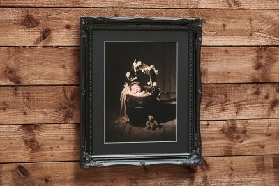 "Swept Art Frame - 16""x12"" - Template Used = DT-053 - 16x12 (12x8) - Frame = Black / Mount = Black"