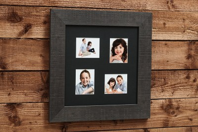 "Natural Frame - 16""x16"" - Template Used = DT-057 - 16x16 (5x4 x4) - Frame = Black Thick / Mount - Black / Glass = Yes"