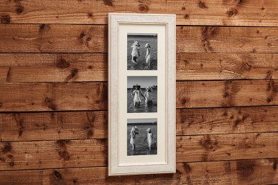 """Woodland Frame - 30""""x11"""" - Template Used = DT-139 - 30x11 (8x7 x3) - Frame = White Wash / Mount = Minuet"""