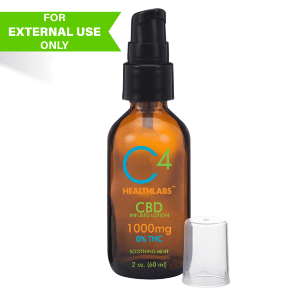 C4 Healthlabs CBD infused lotion bottle 2oz