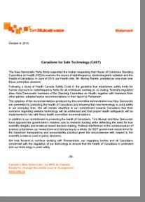 Réponse du NPD Élection 2015 Canadiens et les technologies sécuritaire