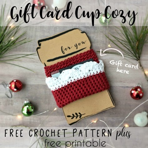 Gift Card Cup Cozy Free Crochet Pattern And Free Printable