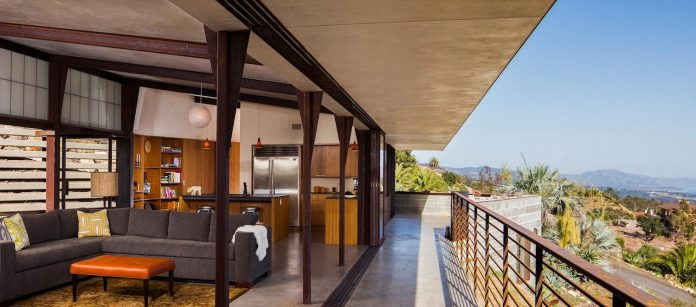 Raw Corten Steel And Concrete Exterior Dress The Crossing Wall House Sited Where The Santa Ynez