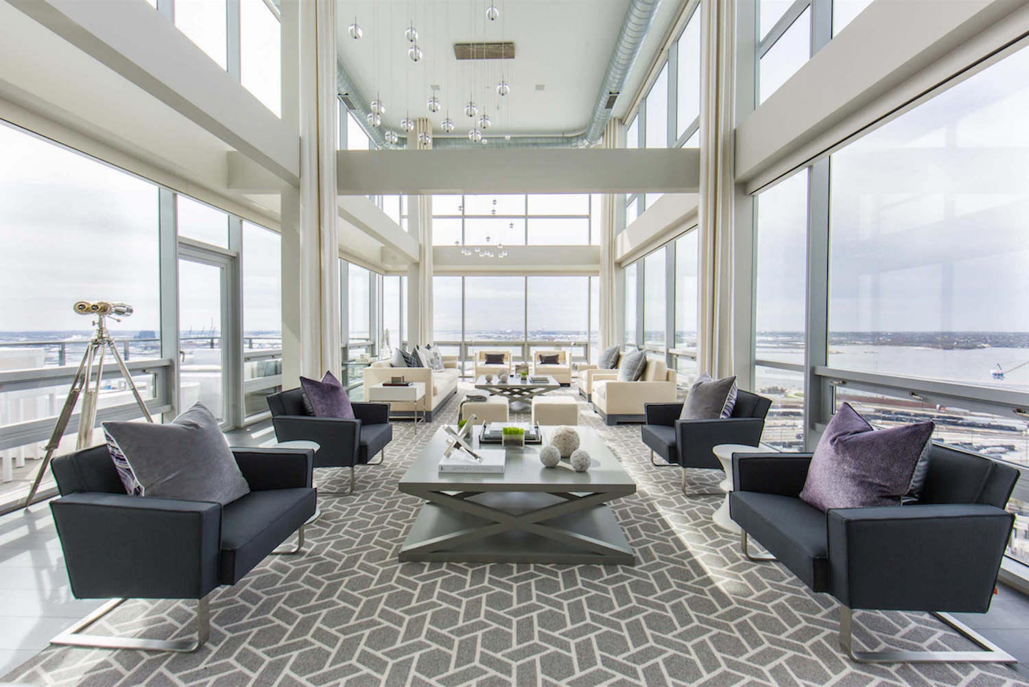 Penthouse With Floor To Ceiling Windows On Both Floors And