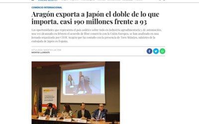 Aragón exporta a Japón casi 190 millones, el doble de lo que importa