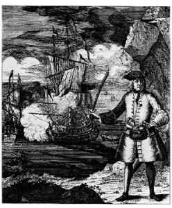 Anonymous print from the 18th Century, showing Henry Every is depicted on shore while his ship, the Fancy, engages an unidentified vessel.
