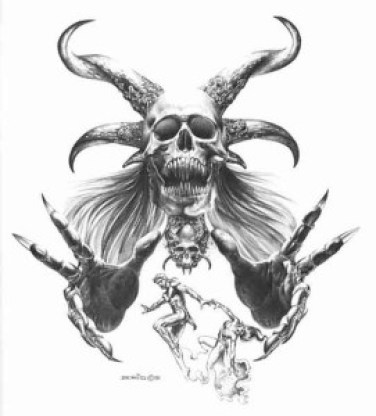 The original drawing is the work of Peruvian-American artist Boris Vallejo, and is used by several tattoo shops in the United States. For $30, you can get a signed copy from his official website. © 2015  Boris Vallejo and Julie Bell. Fair Dealing.