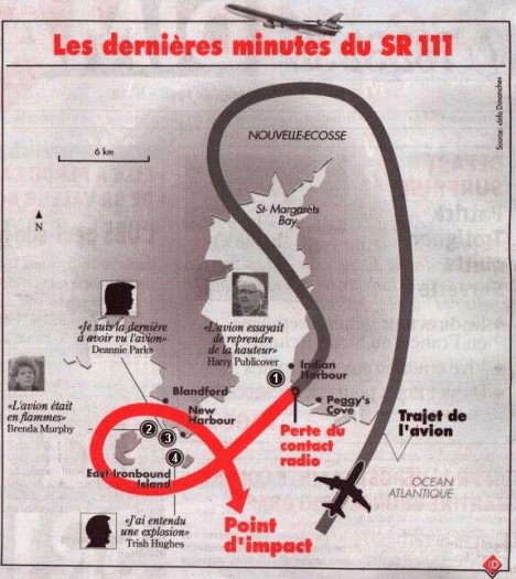 A better version of the previous revision appears in a French newspaper, also indicating the location of Harry Publicover. The point of last radio contact is now AFTER Harry Publicover saw it with the cabin lights lit up to accommodate the coverup. Note that credit goes to Conspiration for first showing this map. Fair Dealing. http://conspiration.com.free.fr/Swissair_111.htm#.VItrWHsvtEI