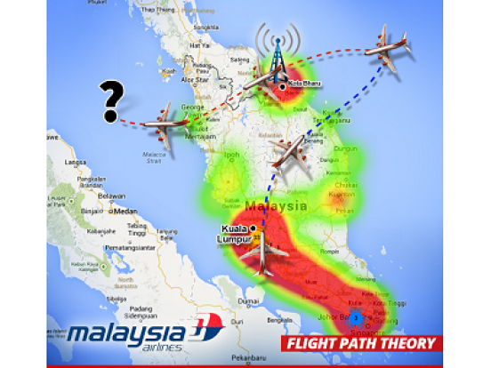 A better representation of the flight path, although I don't agree with MH370 turning away from Indonesia at it's final point. I believe it crossed Indonesia.